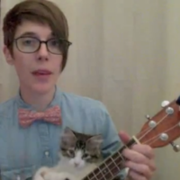 Amazingly cute nerdy love song, with help from a kitten