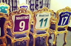 Obafemi Martins has turned his old jerseys into pretty cool chairs
