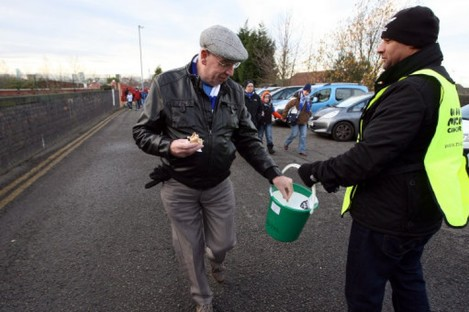 Charity collection at soccer match