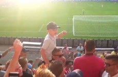 Young PSV fan leads the terraces in raucous chant