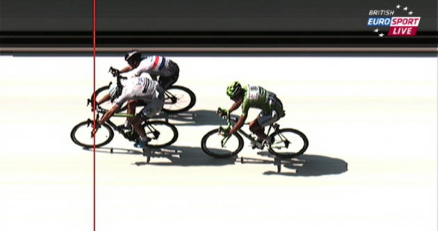 Today's stage at the Tour de France came down to this photo finish