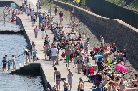 The packed bathing area at Seapoint in Co Dublin earlier this week
