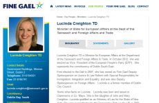 Now you see her...Creighton disappears from Fine Gael website