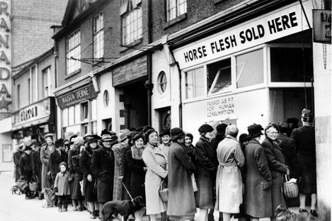 Wartime rations forced women and families to buy horsemeat in the 1940s.