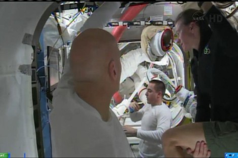 Astronauts aboard the ISS this afternoon.