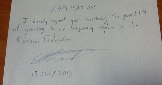 PIC: This is Edward Snowden's asylum application, according to his lawyer