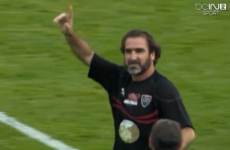 Watch Eric Cantona ping a rugby ball onto the crossbar in novelty game