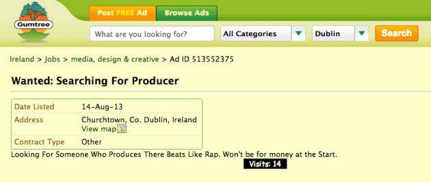 Dubliner advertises for rap producer on Gumtree · The Daily Edge