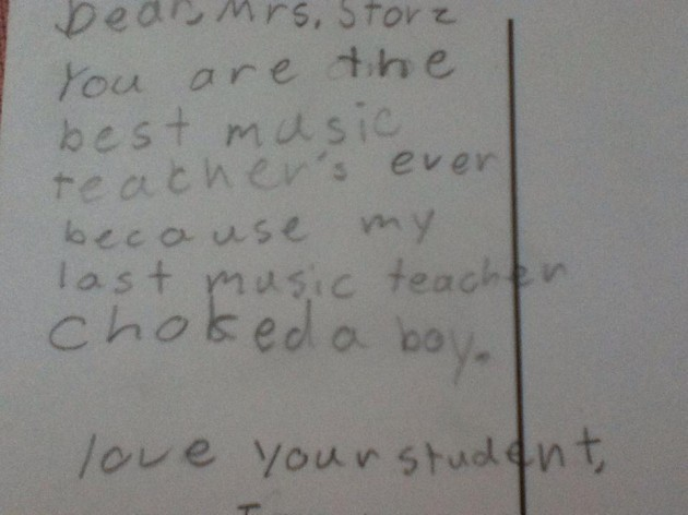 Little kid's end-of-year note to teacher praises her for not being a violent rage-machine. - Imgur