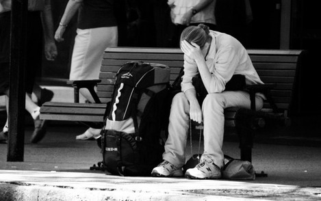 Backpacker with Rosary Beads