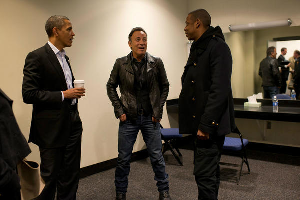 President Obama, Bruce Springsteen, and Jay Z hanging out backstage before a rally in Columbus - Imgur