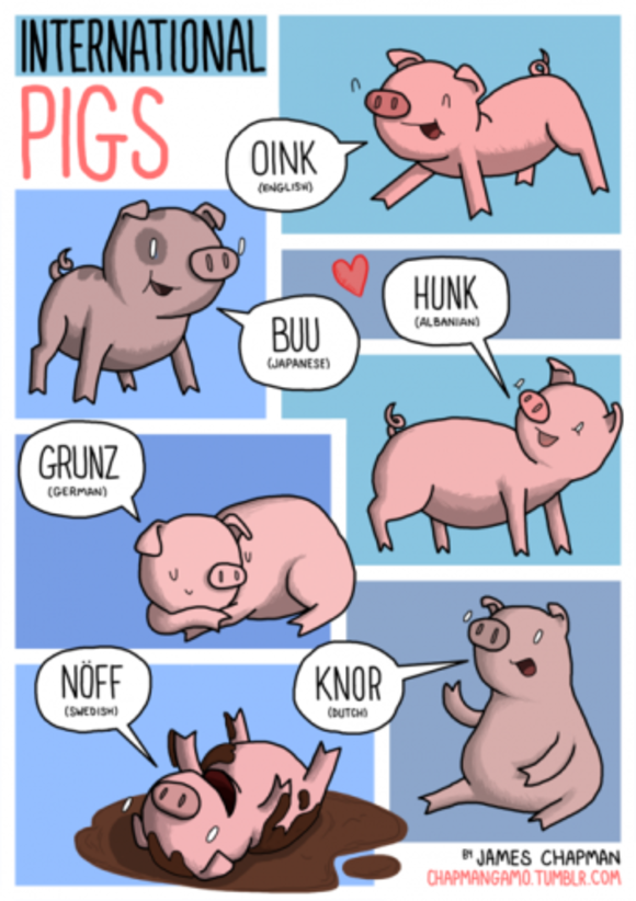 Here are the noises that animals make in other languages