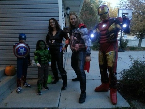 Avengers Assemble!!! My family (and random Cap who joined us) for Halloween - Imgur