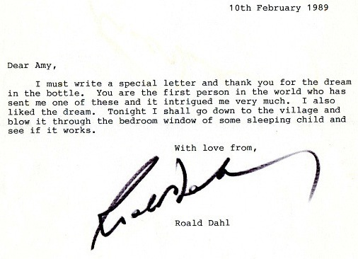 In 1989, A little girl mailed Roald Dahl a dream - Imgur