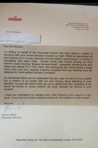 Man receives letter for upsetting postman! - Imgur