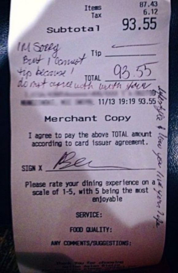 Viral 'homophobic' receipt is a fake, say the people alleged