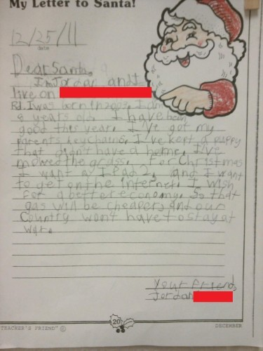 My eight year old brother's letter to Santa. - Imgur