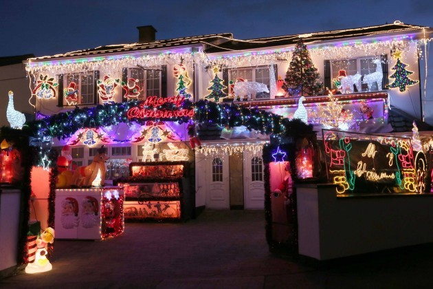 Christmas lights. Des Murphy's home in