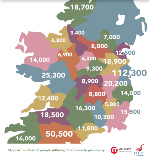 Map Of Ireland By County.This Map Shows Food Poverty Is A Reality In Every County In Ireland