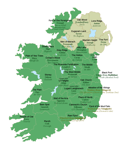 Map With Counties Of Ireland.All 32 Counties Of Ireland With Their Literal English Translations