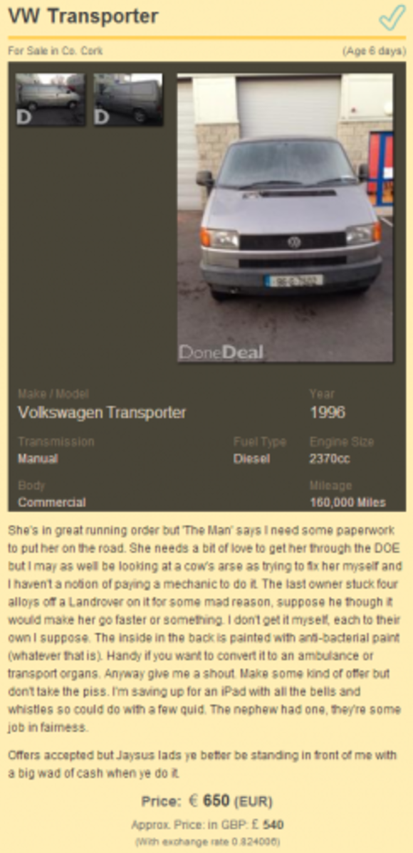 Is This The Most Straight Talking Car Ad On Donedeal The Daily Edge