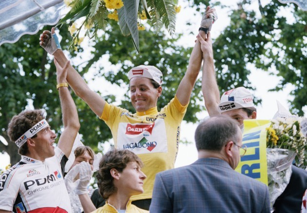 Pedro Delgado with Stephen Roche and Jeannie Longo