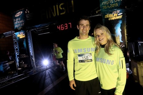 Bryan Cullen with his wife Ailis McSweeney after completing the race