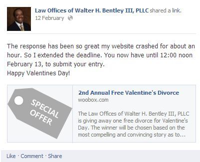 Lawyer Offers Free Valentines Divorce To The Couple With The Best