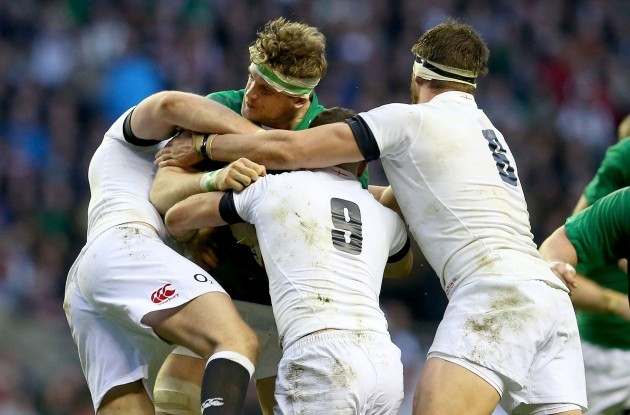 Jamie Heaslip tackled by Danny Care, Mike Brown and Tom Wood