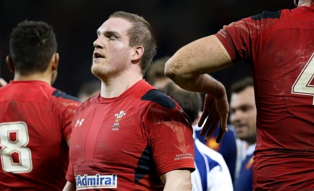 Gethin Jenkins dejected after being yellow carded