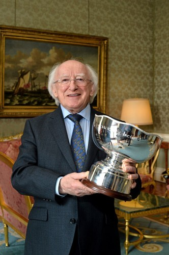 St Patrick's Athletic and Sligo Rovers Captains meet the President of Ireland Michael D. Higgins