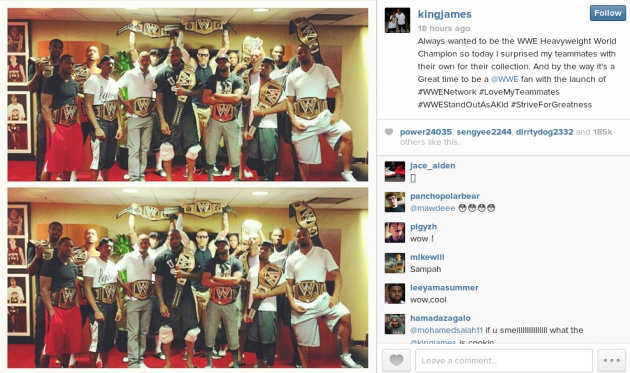 LeBron James got WWE title belts for his Miami Heat