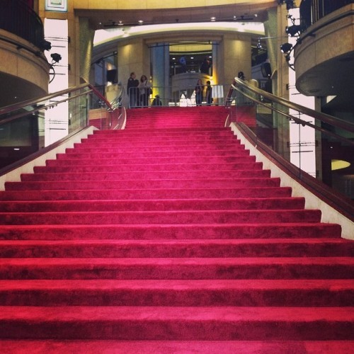 The red carpet grand staircase leading to the Dolby is ready for its guests.