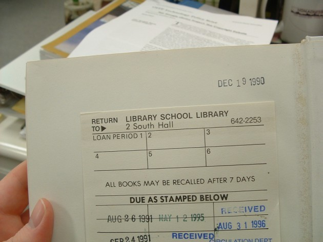 old UC Berkeley Library School Library Book