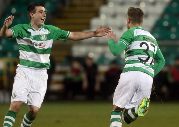 Stephen McPahil celebrates scoring with Robert Bayly