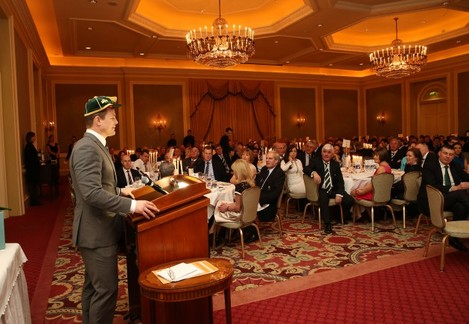 IrelandÕs Brian OÕDriscoll who received a cap for his world record of 140 caps at the IRFU dinner after the match