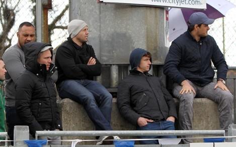 Leo A'Auva, Isaac Boss, Brendan Macken and Quinn Roux enjoy the game