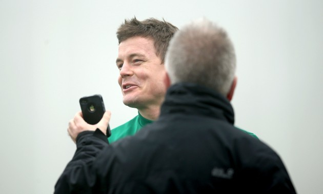 Brian O'Driscoll shares a joke with RTE's Michael Corcoran