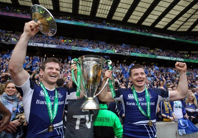 Gordon D'Arcy and Brian O'Driscoll celebrate