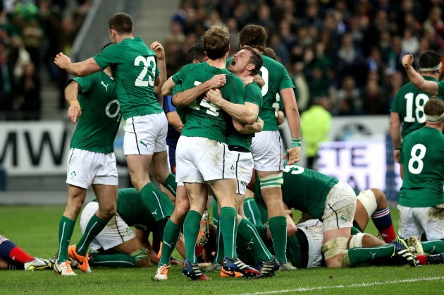 Andrew Trimble and Brian O'Driscoll celebrate after the game