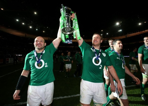 Rory Best and Chris Henry celebrate