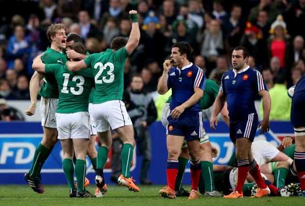 Brian O'Driscoll celebrates with Fergus McFadden, Andrew Trimble and Rob Kearney at the final whistle
