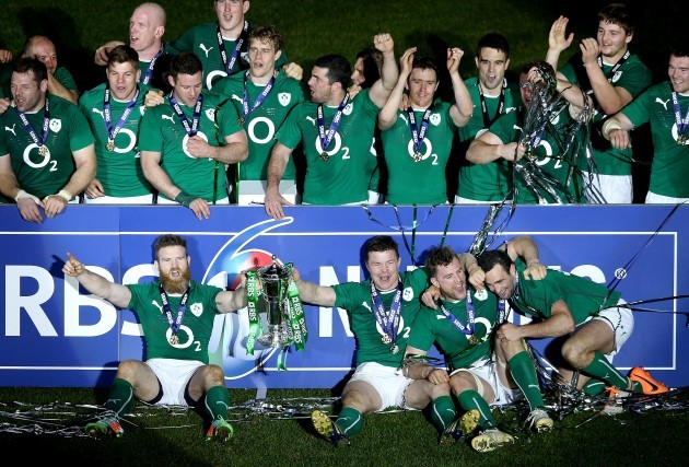 Gordon D'Arcy, Brian O'Driscoll, Jamie Heaslip and Dave Kearney with the Six Nations trophy