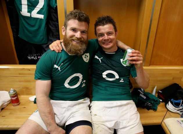 Gordon D'Arcy and Brian O'Driscoll celebrate in the dressing room