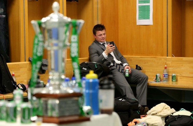 Brian O'Driscoll in the dressing room after the game