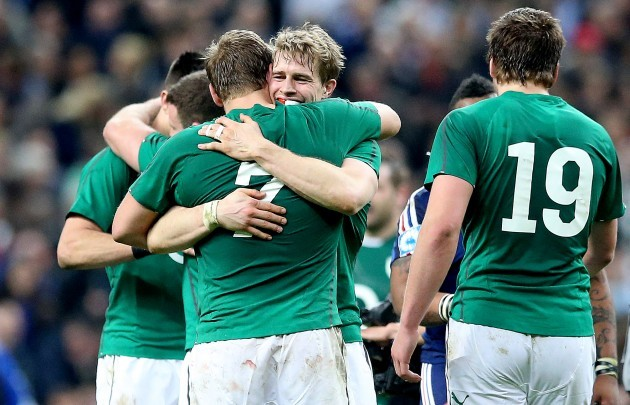 Andrew Trimble and Chris Henry celebrate after the game