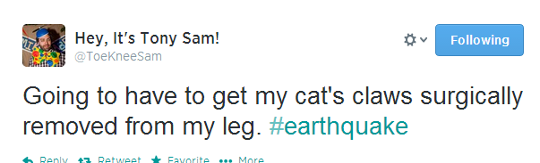 An earthquake has woken every Twitter user in Los Angeles at 6 30am