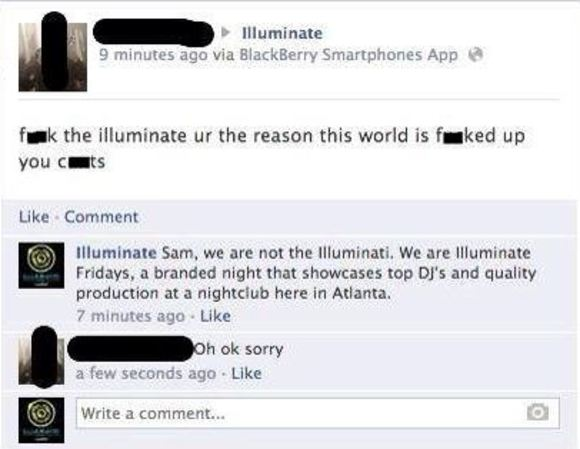 Man mistakes club night for the Illuminati, apologises for trolling