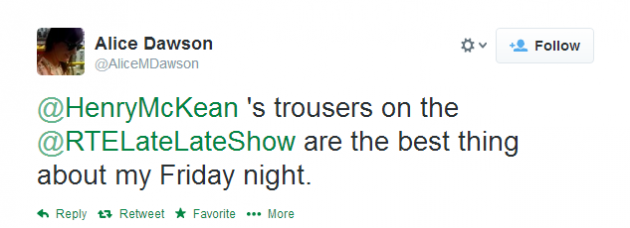 This man's trousers owned the Late Late Show last night · The Daily Edge