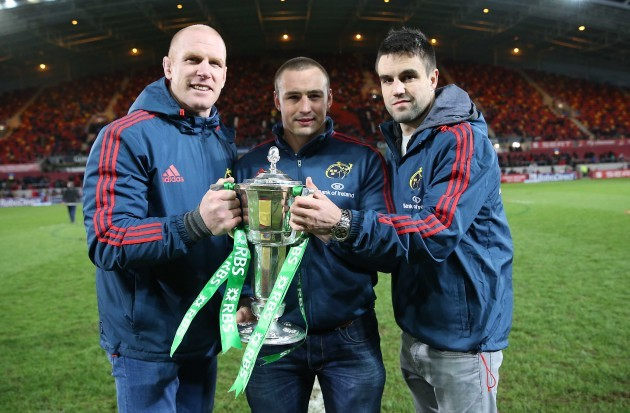 Paul O'Connell Tommy O'Donnell and Conor Murray with the RBS 6 Nations trophy